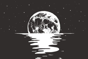 View to full moon at the night sea.Nature design.Vector illustration