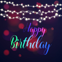 Happy birthday typography greeting card with blurred bokeh lights in the background.