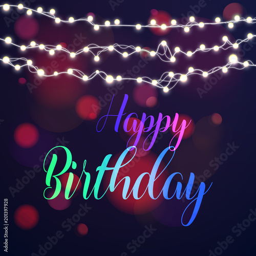 Happy Birthday Typography Greeting Card With Blurred Bokeh Lights In The Background