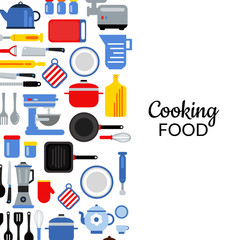Vector flat style kitchen utensils background illustration with