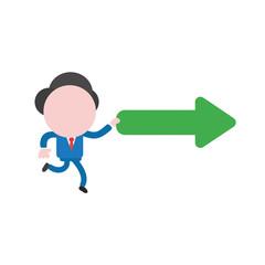 Vector illustration businessman running and holding right arrow