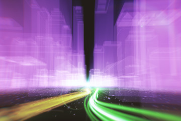 Abstract background of fiber optic cables carrying information into wireframe city buildings 3d illustration