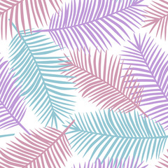purple pink and blue palm leaves on a white background exotic tropical hawaii pastel seamless pattern vector