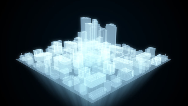 Abstract futuristic city hologram on black background 3d illustration
