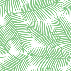 light green palm leaves on a white background exotic tropical hawaii seamless pattern vector