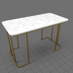 Marble table with metal legs