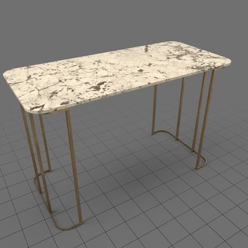 Marble table with bronze legs