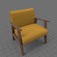 Modern wood armchair with cushion
