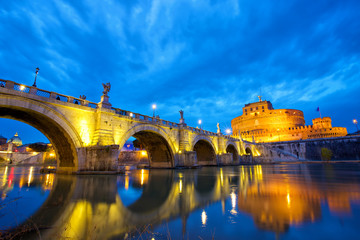 Castel and bridge Sant'Angelo in Rome at dusk, Italy