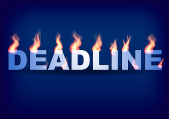 Word DEADLINE with flames on the blue background. Vector illustration.