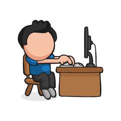 Vector hand-drawn cartoon of man sitting behind desk working on computer
