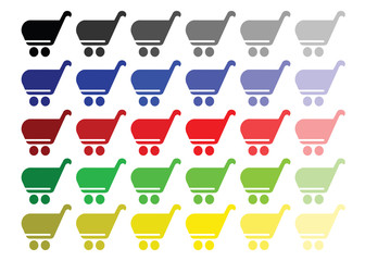 shopping basket vector set in multiple colors - shopping cart icon