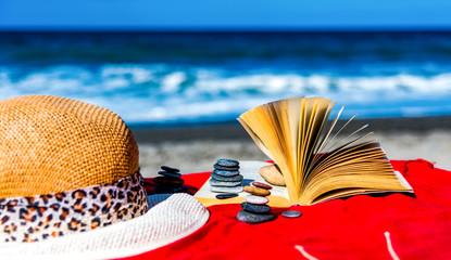 Ferien, lesen am Meer
