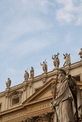 Statue of St Paul, in front of St Peter's Basilica, Vatican City, Rome, Italy.