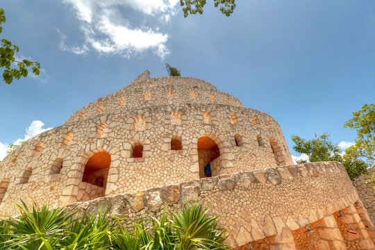 Ruins in Xcaret, Riviera Maya, Mexico