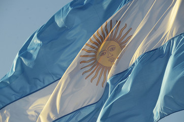 Argentine flag in the wind Fotomurales