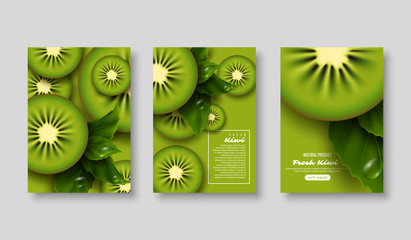 Kiwi poster set. Sliced pieces with leaves and water drop. Fruit template for brochure, layout design, banner, cover, flyer. Vector illustration.