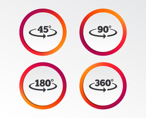 Angle 45-360 degrees icons. Geometry math signs symbols. Full complete rotation arrow. Infographic design buttons. Circle templates. Vector