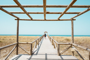 Beach walkway at beach of Zahara de Los Atunes, Cadiz, Andalusia, Spain