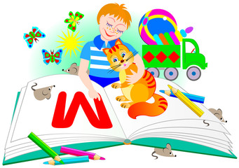The boy with a cat learns to read. Illustration for children's book.  Vector cartoon image.