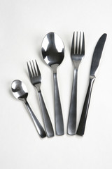 set with forks, knife and spoons