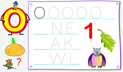 Educational page for young children with letter O for study English. Developing skills for writing and reading. Vector cartoon image.