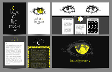 Moon eye collection with illustration of beautiful graphic eye and hand drawn inscription. A set of templates and backgrounds, include covers, wallpapers, etc.