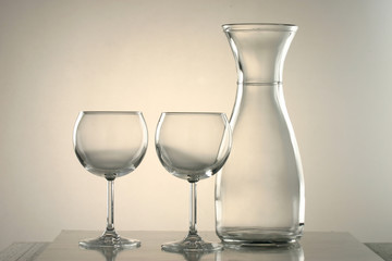 two glasses of wine and one jug