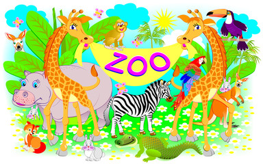 Poster for zoo. Illustration of two giraffes and other cheerful animals. Vector cartoon image.