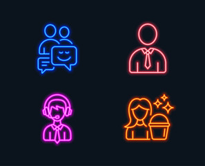 Neon lights. Set of Communication, Human and Shipping support icons. Cleaning sign. Business messages, Person profile, Delivery manager. Maid service.  Glowing graphic designs. Vector