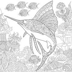 Zentangle underwater background with sailfish