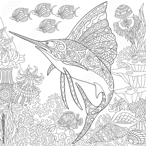 Zentangle Underwater Background With Manta Ray Fish Stock Image And Royalty Free Vector Files On Fotolia