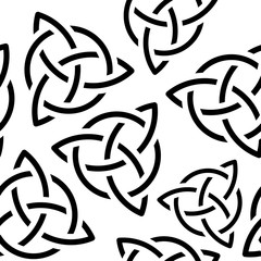 Celtic triquetra flat black symbol seamless background vector illustration