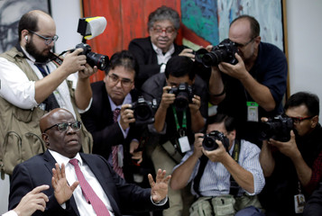 Joaquim Barbosa, former Chief Justice in Brazil, is seen during a meeting with PSB Election Commission in Brasilia