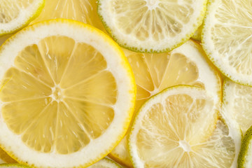 Sliced juicy lemons. View from above.