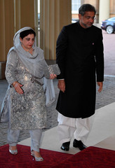 Pakistan's Prime Minister Abbasi arrives for The Queen's Dinner during the Commonwealth Heads of Government Meeting at Buckingham Palace in London, Britain