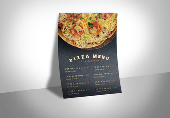 Menu Layout with Pizza Graphic