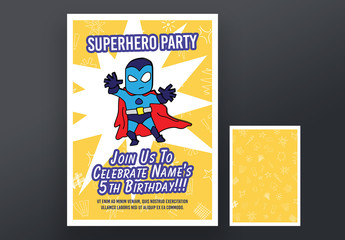 Superhero Party Invitation Layout