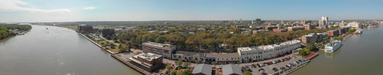 Panoramic aerial view of Savannah skyline on a beautiful day, Georgia