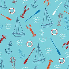 Seamless pattern with sailboat, anchor, lobster, oar and lifebuoy.