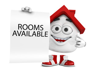 3d Illustration red house character concept - Rooms available