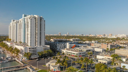 Aerial view of Venetian Way and Miami Beach, Florida