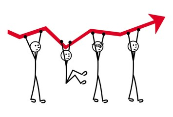 Business metaphor. Three men support the growth schedule. One pulls it down. The concept. Vector graphics.