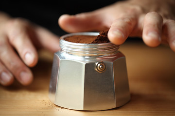 Ground coffee in container, Oakland, USA