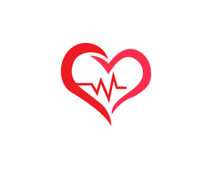 Four health care logo with heart shape