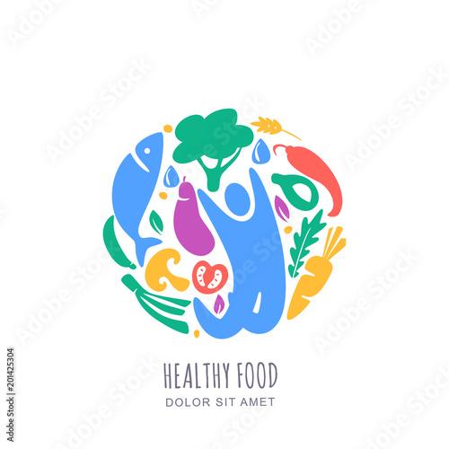 organic healthy vegetarian food concept vector logo label design