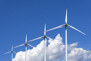 Air mills power station against the sky. Alternative energy.