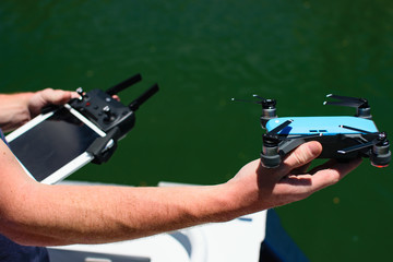 Man flying Drone in Fiji