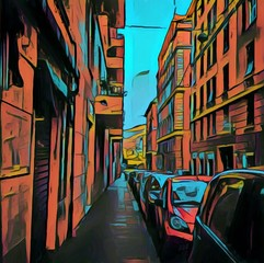 Vintage italian street view. Big size oil painting pictorial art. Modern impressionism drawing artwork. Creative artistic print for canvas or textile. Wallpaper, poster or postcard design.