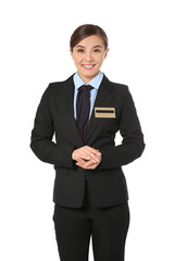 Portrait of female receptionist on white background